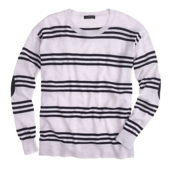 Triple-striped elbow patch sweater