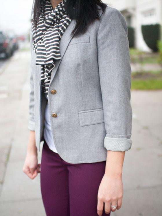 J.Crew blazer | J.Crew scarf | J.Crew tee | LOFT pants | Merona pumps | www.shoppingmycloset.com