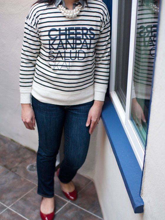 J.Crew sweater | Old Navy chambray | Forever 21 necklace | GAP jeans | Merona flats | www.shoppingmycloset.com