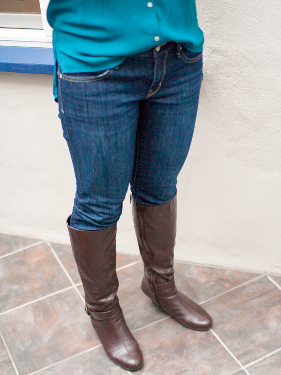 #hm blouse | #gap jeans | #ninewest boots | www.shoppingmycloset.com