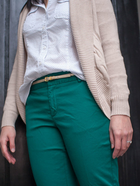 #merona sweater | #loft button-down | #jcrew belt | #merona pants | #ninewest peep toe pumps | www.shoppingmycloset.com