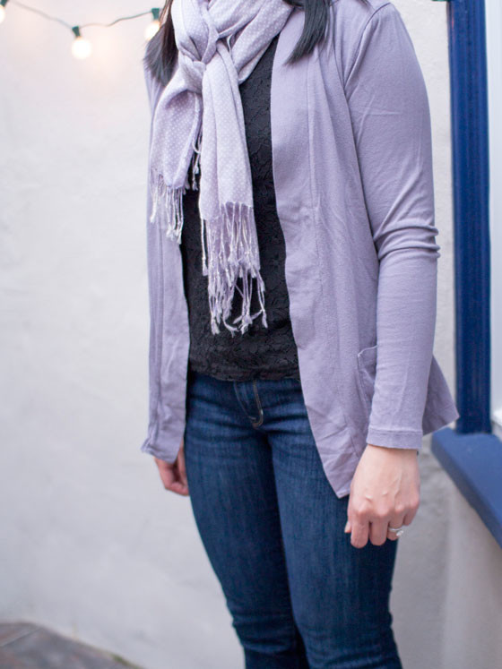 #jcrew scarf & cardigan | #forever21 lace blouse | #gap jeans | www.shoppingmycloset.com
