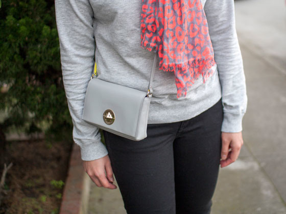 #gap scarf | #hm sweater | #jcrew denim | #colehaan wedges | #katespade crossbody | www.shoppingmycloset.com