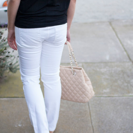#statement necklace | #gap top | #jcrew jeans | #katespade flats & purse | www.shoppingmycloset.com