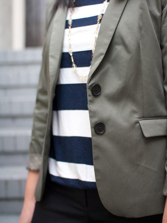 #gap striped top | #hm olive blazer | #kohls necklace | #loft crop pants | #colehaan pumps | www.shoppingmycloset.com