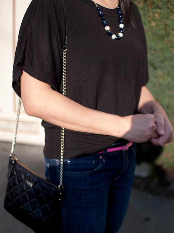 #hm black sweater | #jcrew necklace| #kohls neon pink belt | #gap denim jeans | #colehaan wedge heels | #katespade quilted purse | www.shoppingmycloset.com