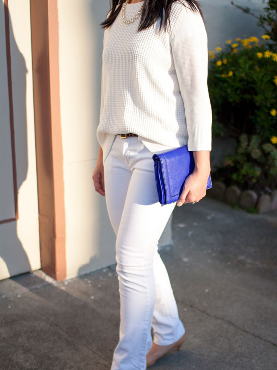 #target waffle sweater, facet necklace & leopard belt | #jcrew white jeans & Tillary cobalt crossbody | #colehaan kitten pumps