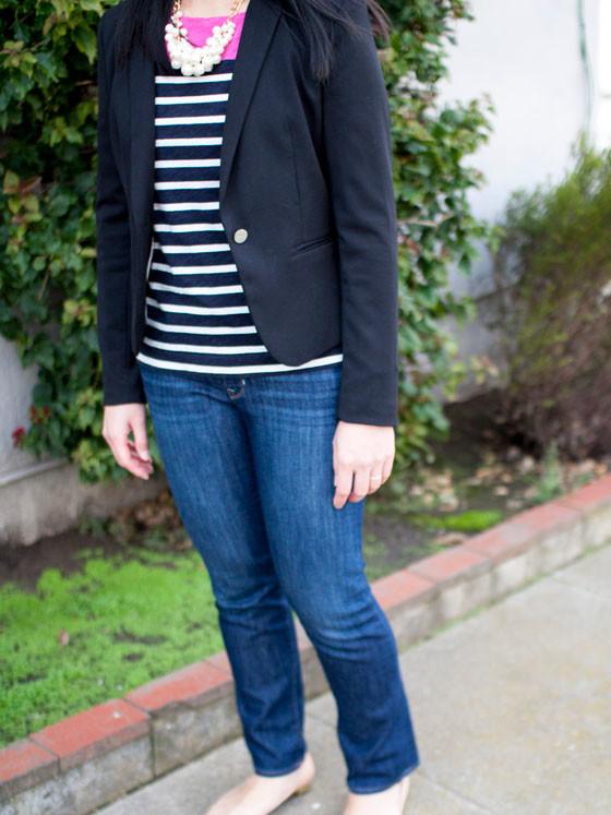 #forever21 pearl necklace | #jcp colorblock shirt | #hm blazer | #gap denim jeans | #jcrew  flats | www.shoppingmycloset.com