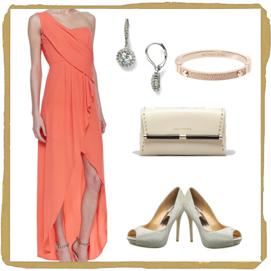 #BCBGMAXAZRIA coral dress | #nadri drop earrings | #michaelkors pave bracelet | #DIANEvonFURSTENBERG studded clutch | #badgleymischka peep toe pumps | www.shoppingmycloset.com