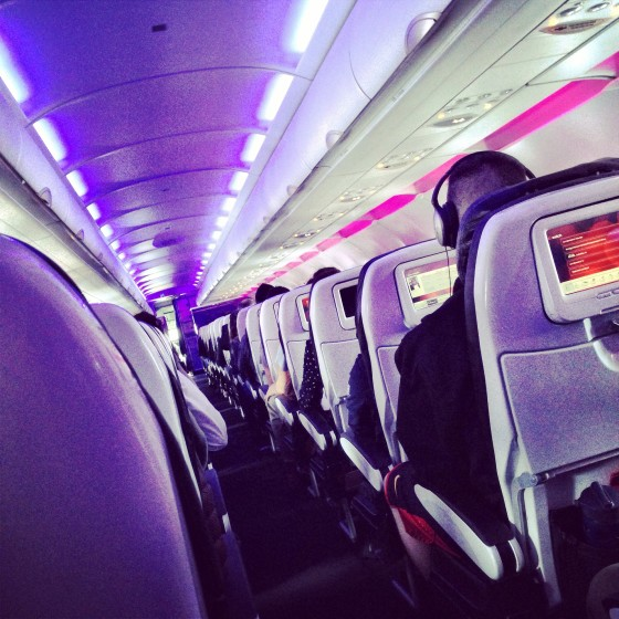 Airplane cabin in Virgin America | www.shoppingmycloset.com