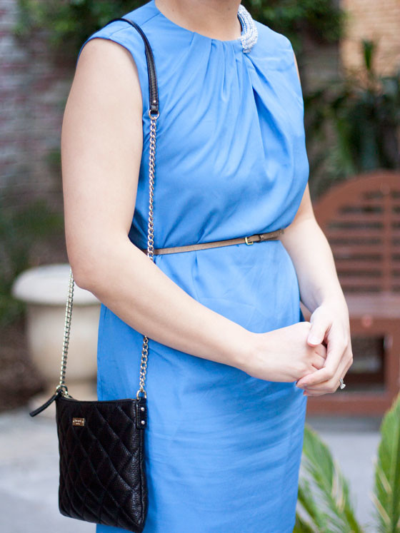 @katespade #katespade quilted purse | @31philiplim #31philiplim blue dress | @hm #hm gold belt | @colehaan #colehaan kitten heels | www.shoppingmycloset.com