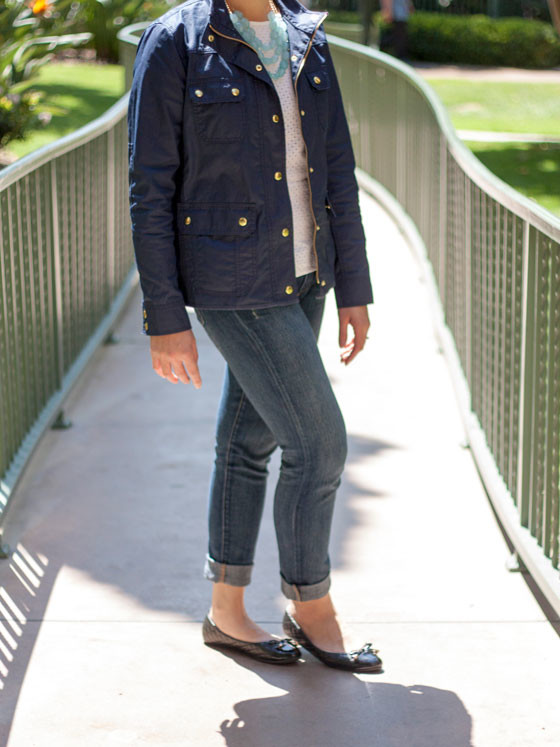 @jcrew #jcrew navy field jacket | @gap #gap eyelet peplum | @forever21 #forever21 mint statement necklace | @paigedenim #paigedenim skinny jeans | @bananarepublic #bananarepublic quilted flats | www.shoppingmycloset.com
