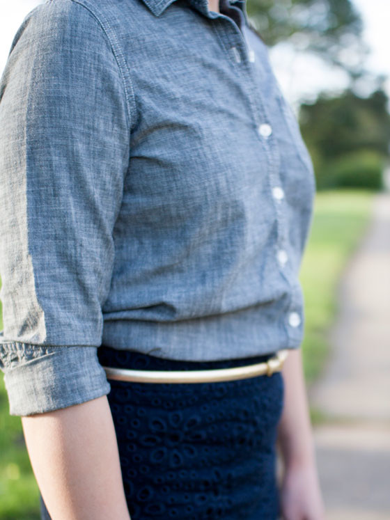 @oldnavy #oldnavy chambray shirt | @jcrew #jcrew floral eyelet skirt and gold skinny belt | @colehaan #colehaan champagne heels | www.shoppingmycloset.com