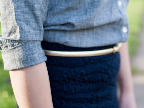@oldnavy #oldnavy chambray shirt   @jcrew #jcrew floral eyelet skirt and gold skinny belt   @colehaan #colehaan champagne heels   www.shoppingmycloset.com