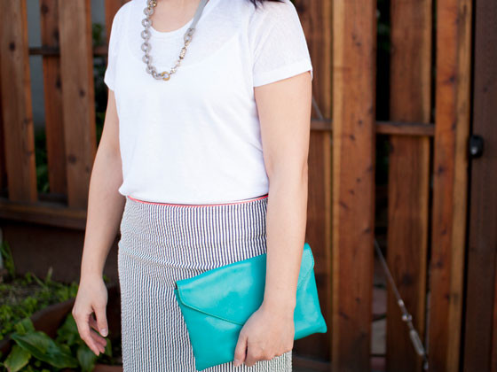 @jcrew #jcrew beaded gray necklace, striped seersucker skirt, teal clutch  | @vince #vince white knit top | @bananarepublic #bananarepublic quilted black ballet flats | www.shoppingmycloset.com