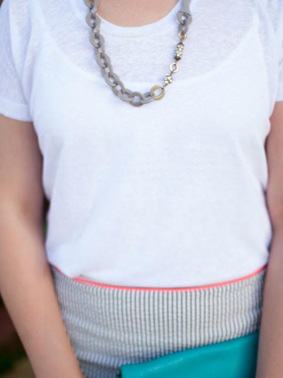 @jcrew #jcrew beaded gray necklace, striped seersucker skirt, teal clutch    @vince #vince white knit top   @bananarepublic #bananarepublic quilted black ballet flats   www.shoppingmycloset.com
