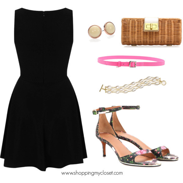 @givenchy #givenchy ankle wrap sandals | @topshop #topshop little black dress | @marcjacobs #marcjacobs earrings | @ralphlauren #ralphlauren pearl bracelet | @jcrew #jcrew straw clutch | @dsquared #dsquared belt | www.shoppingmycloset.com