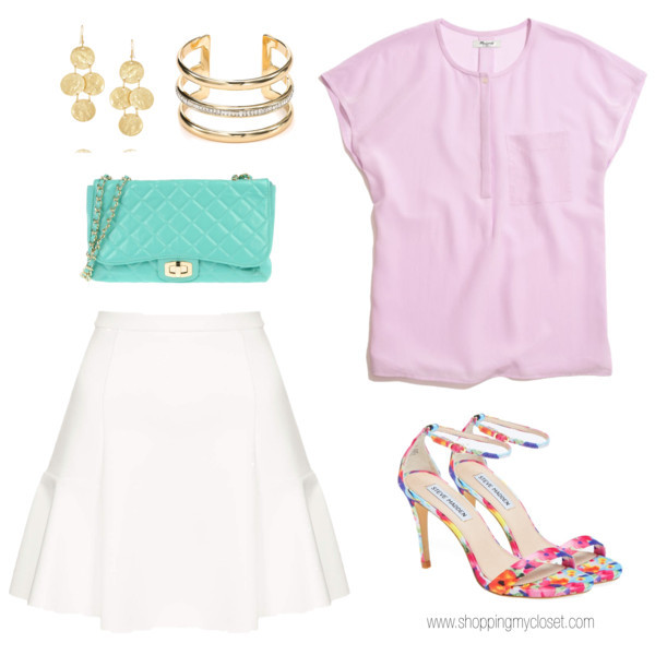 @stevemadden #stevemadden ankle wrap heels | @madewell #madewell blush blouse | @topshop #topshop scuba midi skirt | earrings via @netaporter #netaporter | gold cuff via @bloomingdales #bloomingdales | mint quilted purse via @yoox #yoox | www.shoppingmycloset.com