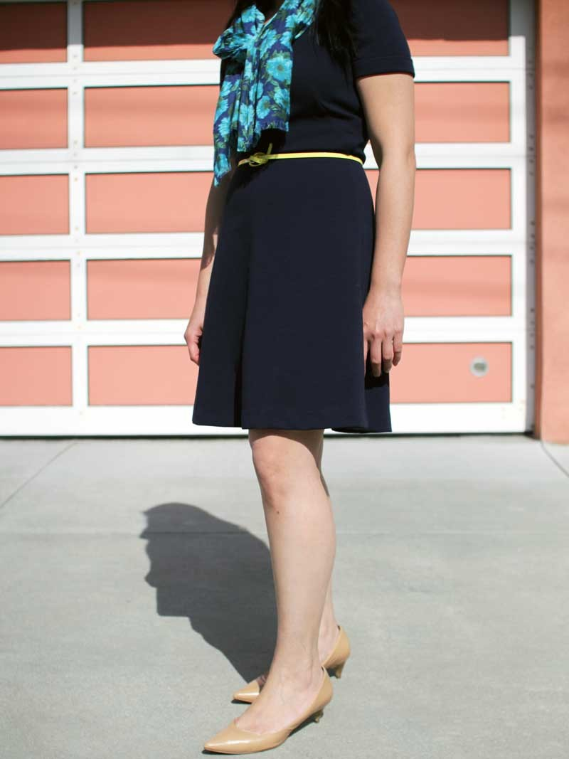 @jcrew #jcrew navy ponte fit & flare dress and floral scarf | @hm #hm yellow skinny belt | @colehaan #colehaan nude kitten heels | www.shoppingmycloset.com