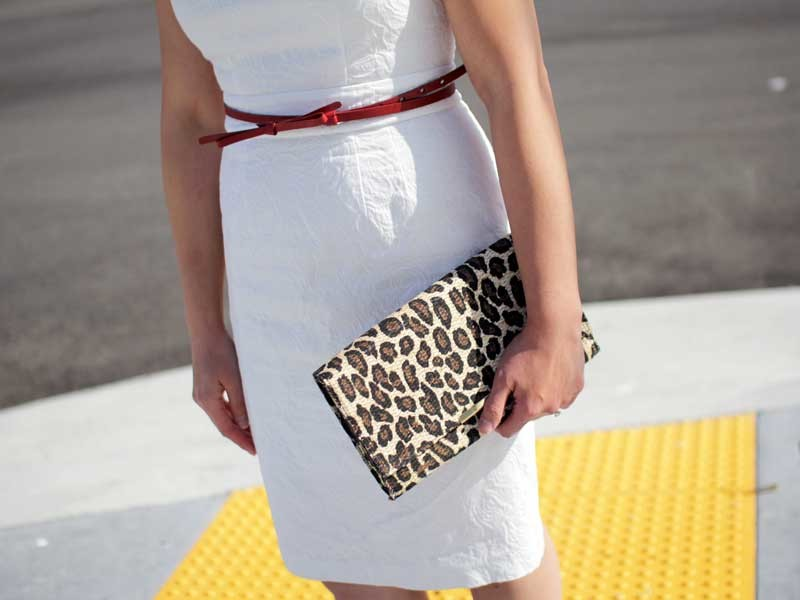 @bananarepublic #bananarepublic white dress | @gap #gap red skinny bow belt | @hm #hm leopard clutch | @ninewest #ninewest red kitten heels | www.shoppingmycloset.com