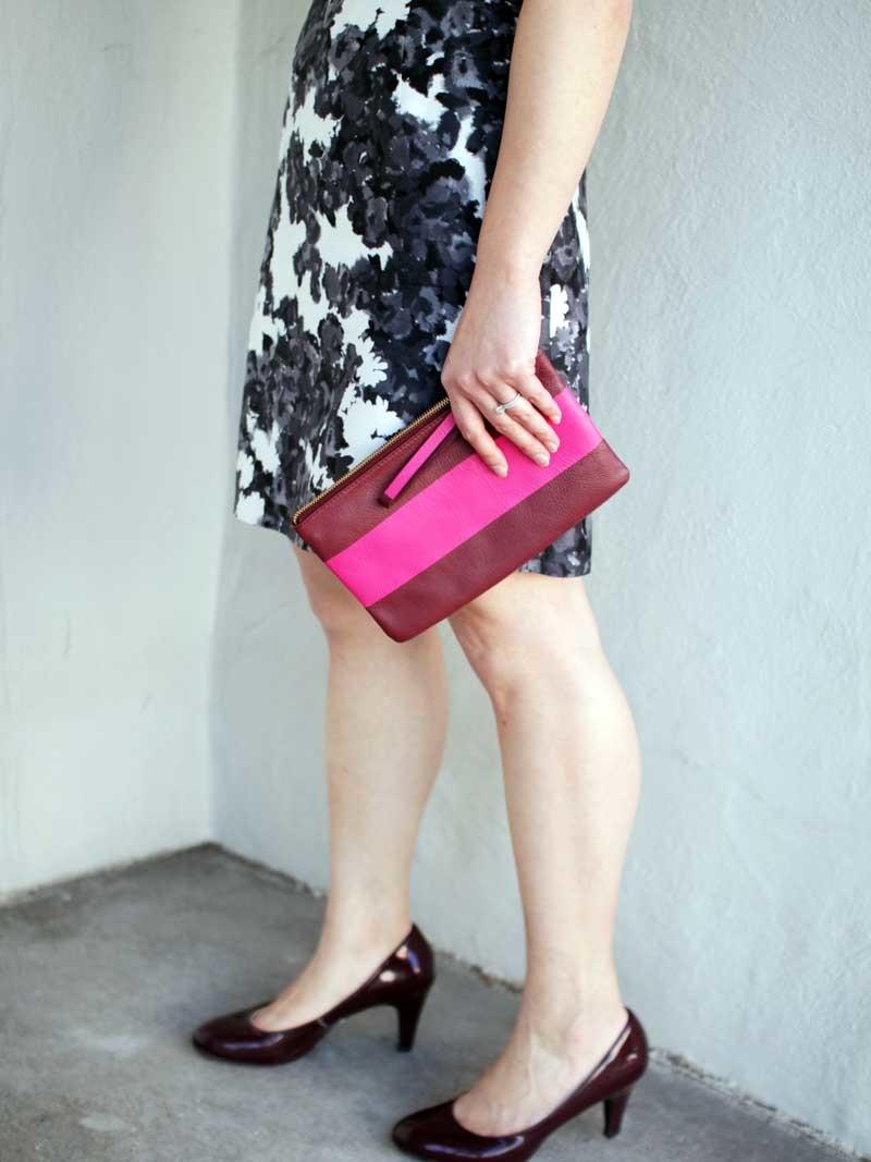 @katespade #katespade floral dress | @hm #hm black blazer | Merona via @target #target burgundy heels | @gap #gap striped clutch | www.shoppingmycloset.com