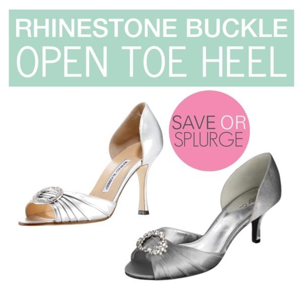 Rhinestone buckle open toe heel: Manolo Blahniks & Tevolio via @target #target | www.shoppingmycloset.com