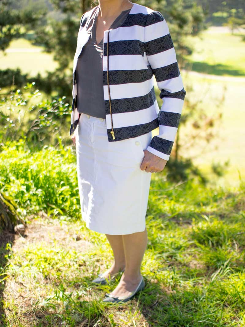 @bananarepublic #bananarepublic striped coat | @joie #joie charcoal top | @jcrew #jcrew white pencil skirt | @katespade #katespade bow grey pumps | www.shoppingmycloset.com
