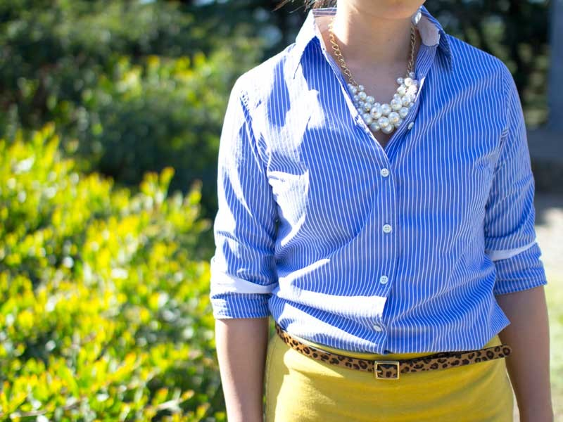 @jcrew #jcrew striped blue button-down shirt | @forever21 #forever21 pearl statement necklace | @target #target leopard print belt | @oldnavy #oldnavy yellow skirt | @colehaan #colehaan nude flats | www.shoppingmycloset.com