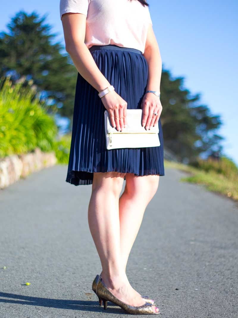 @jcrew #jcrew glitter blush blouse & navy pleated skirt | @gap pink and silver clutch | @ninewest #ninewest gold peep toe heels | www.shoppingmycloset.com