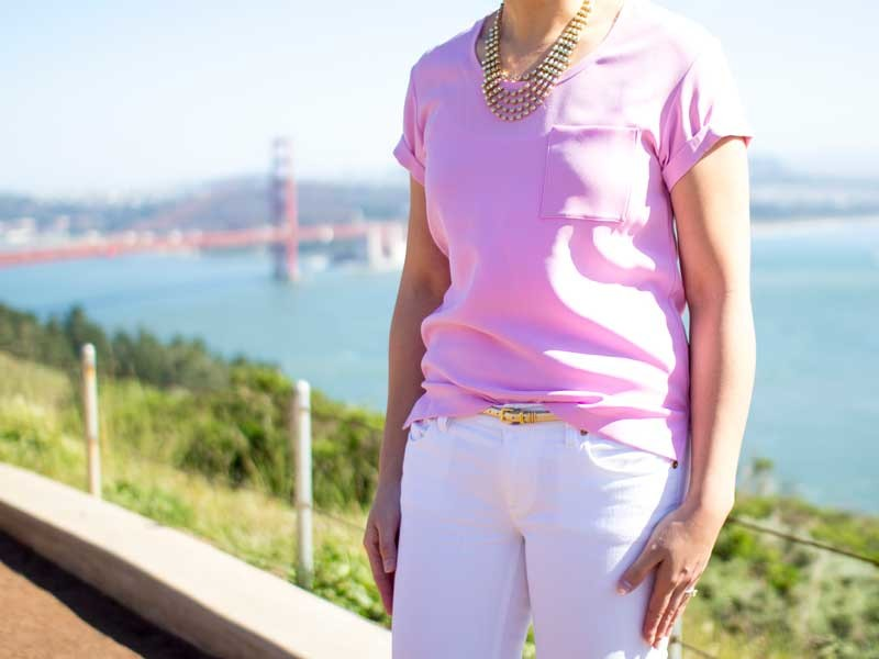 @ragandboneny #ragandbone pink pocket tee | @hm #hm rhinestone gold tiered necklace | @jcrew #jcrew gold skinny belt & white jeans | @colehaan #colehaan kitten pumps | www.shoppingmycloset.com