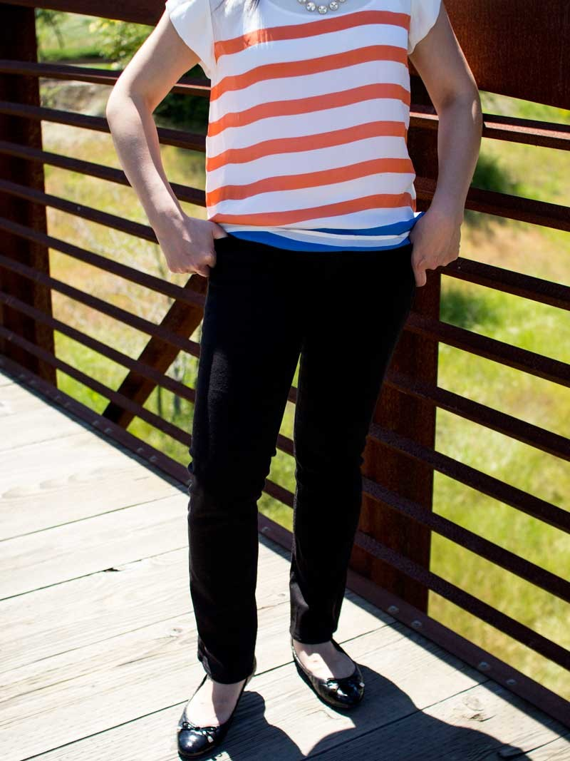 @joieclothing #joieclothing striped orange & blue blouse | @target #target facet rhinestone necklace | @jcrew #jcrew black jeans | @bananarepublic #bananarepublic quilted ballet flats | www.shoppingmycloset.com
