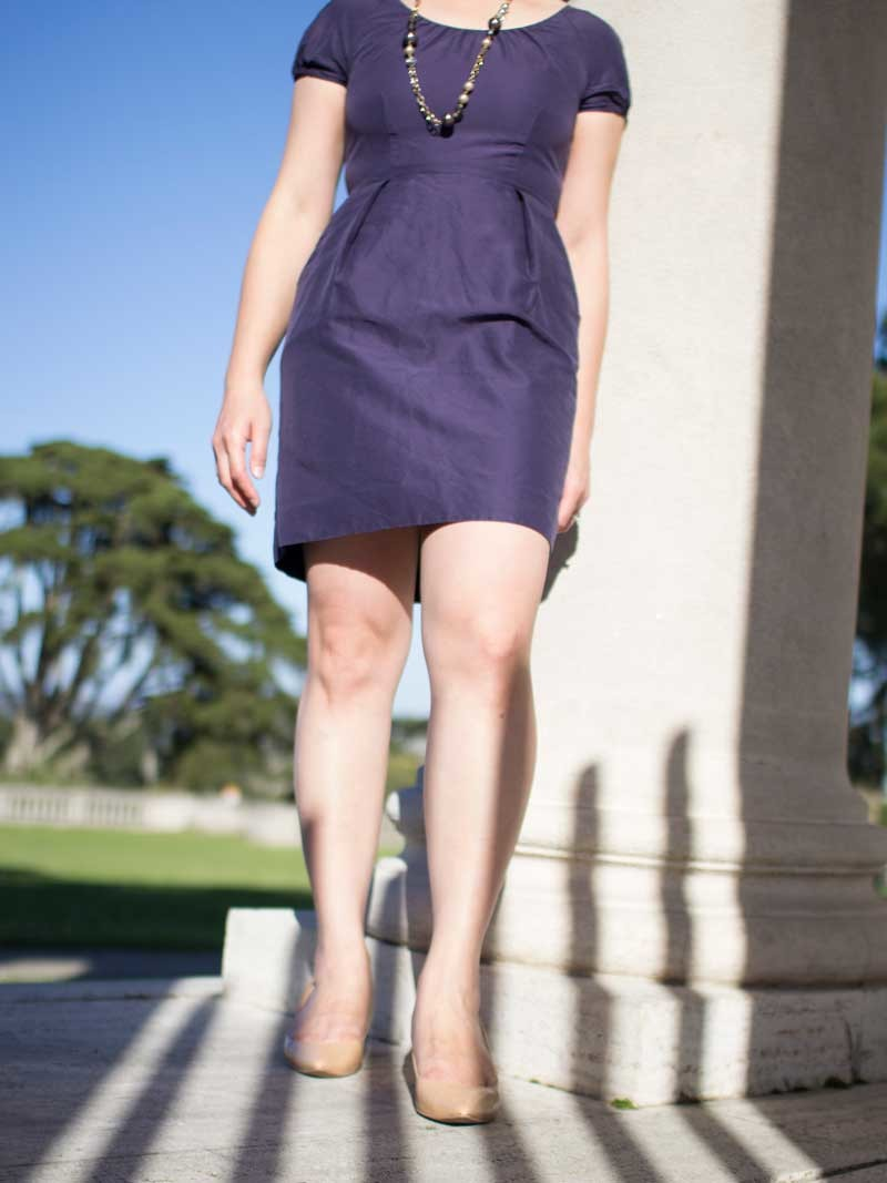 @jcrew #jcrew purple dress & beaded necklace| @colehaan #colehaan nude heels | www.shoppingmycloset.com