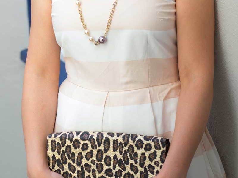 @gap #gap peach stripe dress | @jcrew #jcrew bead necklace | @hm #hm leopard print clutch | @colehaan #colehaan gold heels | www.shoppingmycloset.com