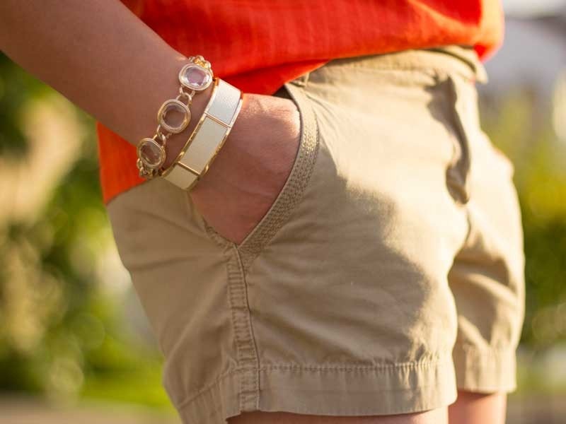 Orange windowpane top | khaki shorts | flip flops | chain link & cuff bracelets | www.shoppingmycloset.com @jcrew #jcrew @bananarepublic #bananarepublic @loft #loft