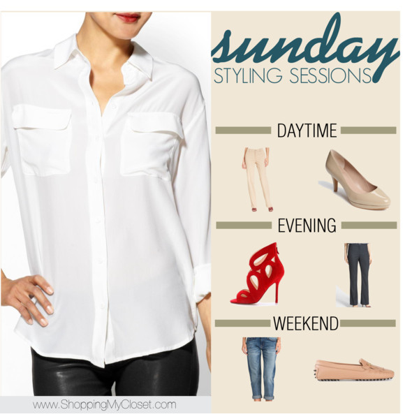 Equipment white silk shirt styled 3 ways | www.shoppingmycloset.com