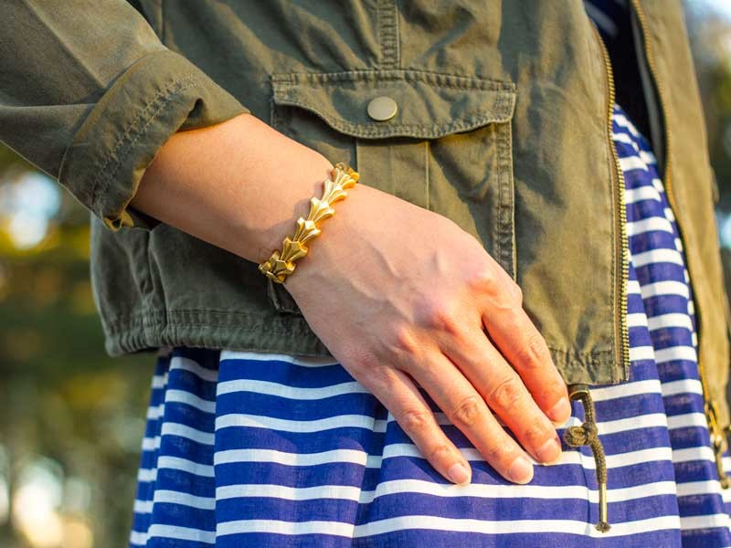 Striped blue dress | Olive cargo jacket | Laser cut ballet flats | Gold bracelet | www.shoppingmycloset.com          @jcrew #jcrew @target #target