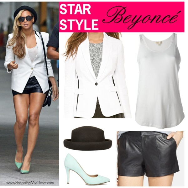 Star style: Beyonce (white blazer, leather shorts, mint heels) | www.shoppingmycloset.com