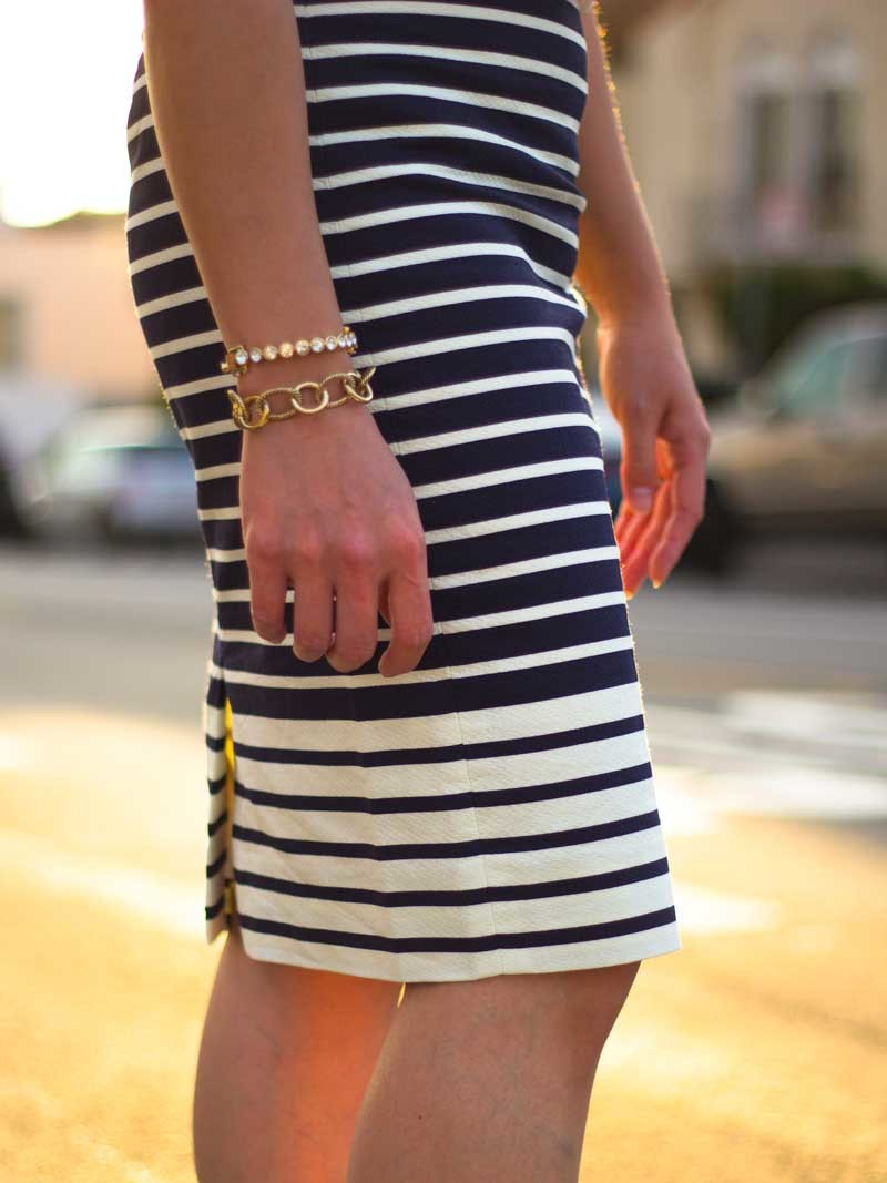 White sleeveless silk blouse | Striped blue & white midi pencil skirt | Red heels | Rhinestone & gold bracelets | www.shoppingmycloset.com @jcrew #jcrew @neimanmarcus #neimanmarcus @ninewest #ninewest @anntaylor #anntaylor @bananarepublic #bananarepublic
