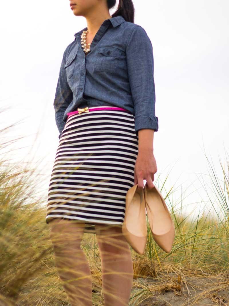 Chambray shirt | Striped black & white skirt | Pink bow belt | Nude kitten heels | www.shoppingmycloset.com          @oldnavy #oldnavy @target #target @bananarepublic #bananarepublic @colehaan #colehaan