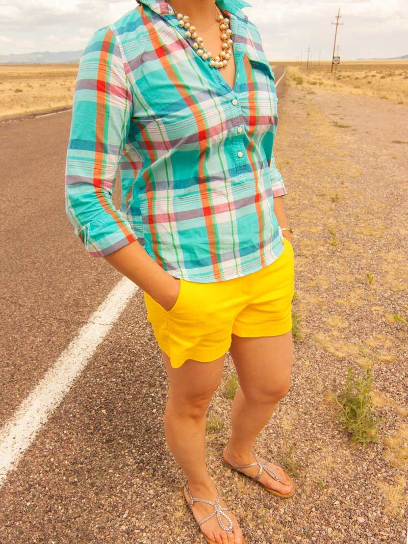 Plaid popover shirt | Yellow shorts | Sandals | Bow bracelet | Pearl necklace | www.shoppingmycloset.com          @jcrew #jcrew @target #target @katespade #katesapde