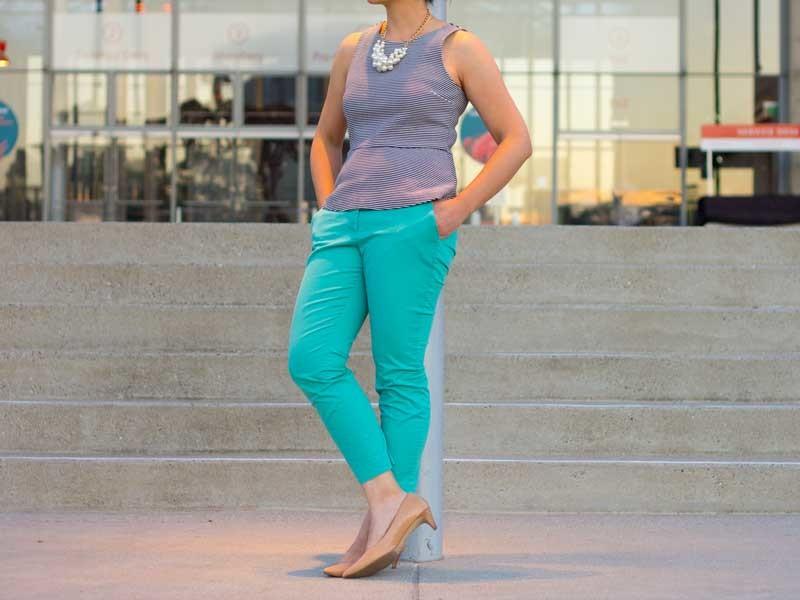 Striped peplum top | Mint crop pants | Pearl cluster necklace | Nude kitten heel | www.shoppingmycloset.com         @jcrew #jcrew @forever21 #forever21 @colehaan #colehaan