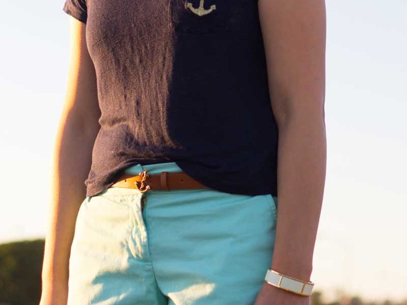 Navy anchor tee   Mint shorts   Anchor belt   Tan & gold sandals   White & gold bracelets   www.shoppingmycloset.com @jcrew #jcrew @target #target @bananarepublic #bananarepublic