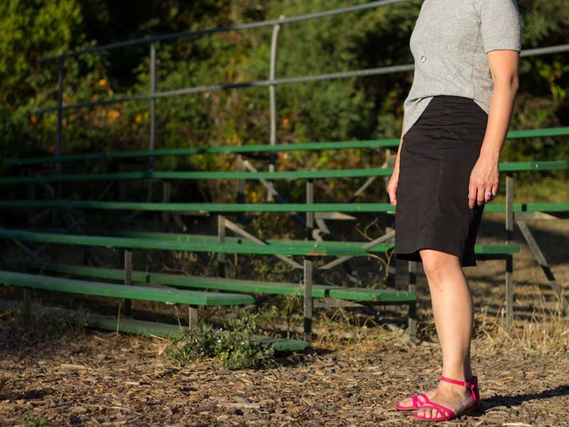 Textured gray sweater | Black pencil skirt | Pink sandals | Pendant necklace | www.shoppingmycloset.com         @loft #loft @hm #hm @target #target @laurenconrad1 #laurenconrad