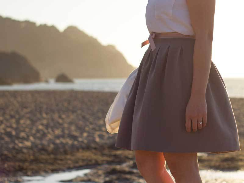 White sleeveless blouse | White blazer | Mauve skater skirt | Pink bow belt | Bow heels  | www.shoppingmycloset.com          @target #target @loft #loft @hm #hm @solesociety #solesociety