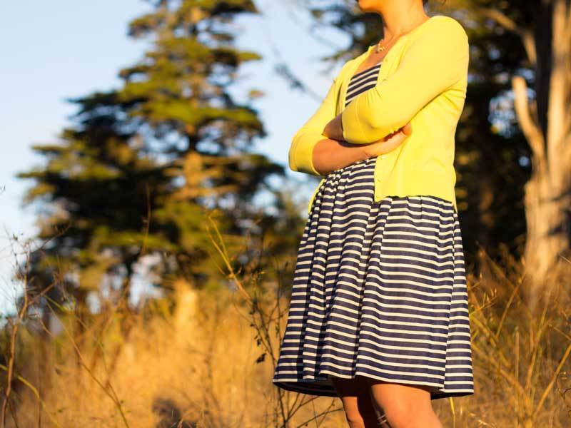 Striped blue dress | Yellow cardigan | Nude kitten heels | Gold & pave necklace | www.shoppingmycloset.com          @jcrew #jcrew @colehaan #colehaan @anntaylor #anntaylor
