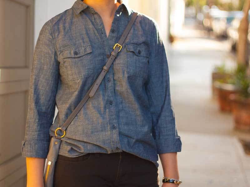 Blue chambray shirt | black denim jeans | striped canvas loafers | grey crossbody purse | bracelet | www.shoppingmycloset.com        @oldnavy #oldnavy @jcrew #jcrew @gap #gap @marcjacobs #marcjacobs @bananarepublic #bananarepublic