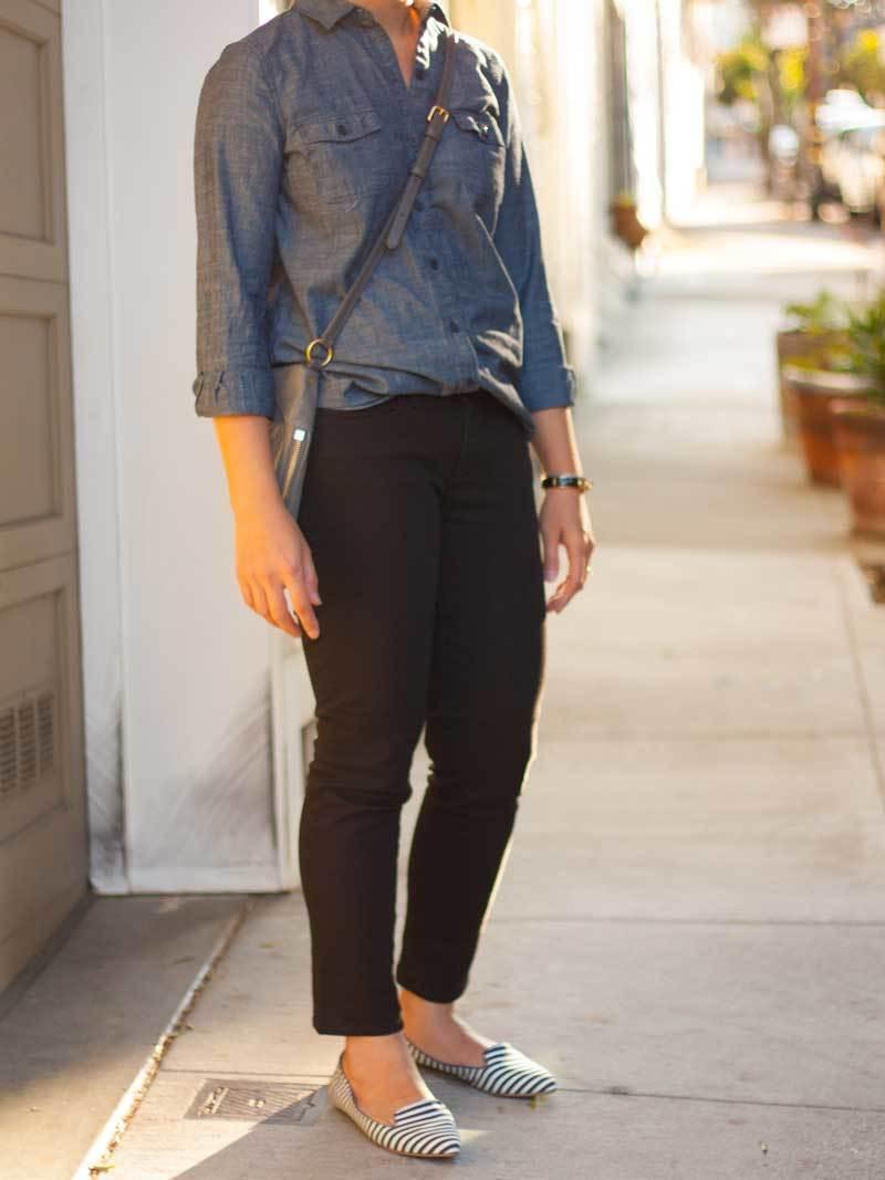 Blue chambray shirt   black denim jeans   striped canvas loafers   grey crossbody purse   bracelet   www.shoppingmycloset.com        @oldnavy #oldnavy @jcrew #jcrew @gap #gap @marcjacobs #marcjacobs @bananarepublic #bananarepublic
