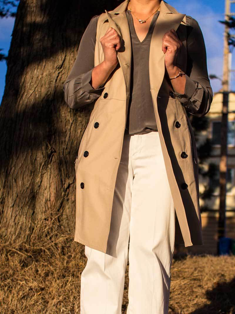 Sleeveless trench coat | grey silk shirt | white pants | leopard heels | gold jewelry | www.shoppingmycloset.com              @anntaylor #anntaylor @joieclothing #joie @americaneagle #americaneagle @bananarepublic #bananarepublic @armed-readi #armedreadi
