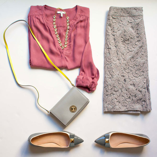 Pink silk blouse | grey lace skirt | faceted rhinestone necklace | grey crossbody | grey bow-embellished flats | www.shoppingmycloset.com          @joieclothing #joieclothing @target #target @bananarepublic #bananarepublic @katespadeny #katespade