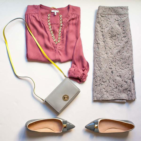 Pink silk blouse | grey lace skirt | faceted rhinestone necklace | grey crossbody | grey bow-embellished flats | www.shoppingmycloset.com          @joieclothing #joieclothing @target #target @bananarepublic #bananarepublic @katespadeny #katespade